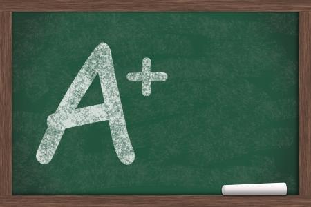A plus written on a chalkboard, Getting great grades