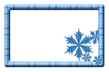 Blue plaid frame with snowflakes for your message or invitation with copy-space in the middle Stock Photo - 22679713