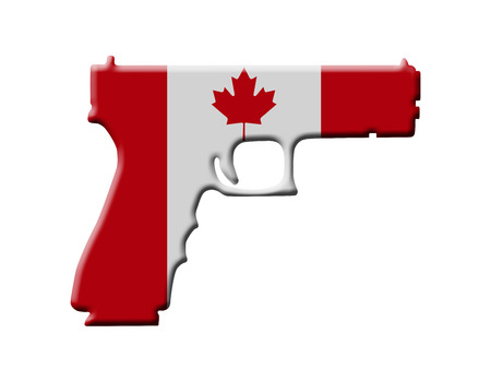 canadian flag: A Handgun in the Canadian flag colors, Handgun weapon in Canada