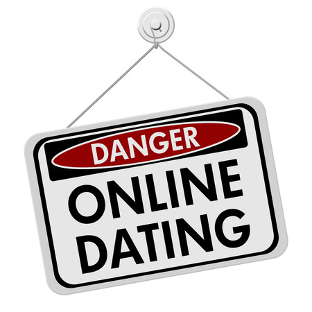 A red, white and black sign with the words Online Dating isolated on a white background, Dangers of Online Dating Stock Photo - 22680115