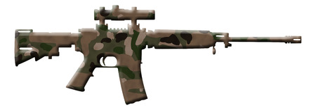 hostility: A rifle in the camouflage colors isolated over white, Camouflage Rifle Stock Photo
