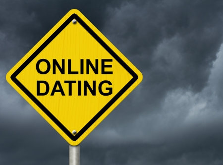 A road warning sign against a stormy sky with words Online Dating, Warning about Online Dating
