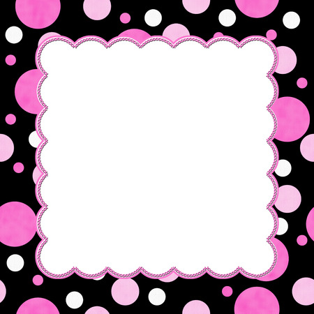 Pink and Black Polka Dot background for your message or invitation with copy-space in middle photo