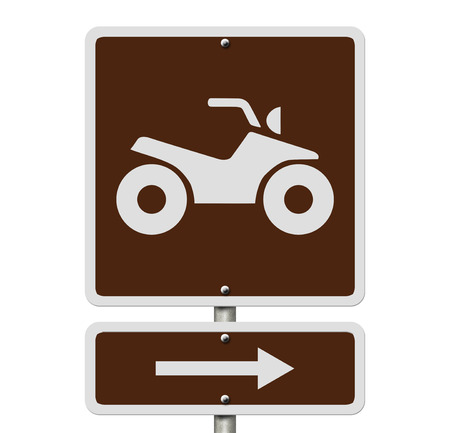 An American road sign isolated on white with a symbol of an ATV, Places to ride ATV photo