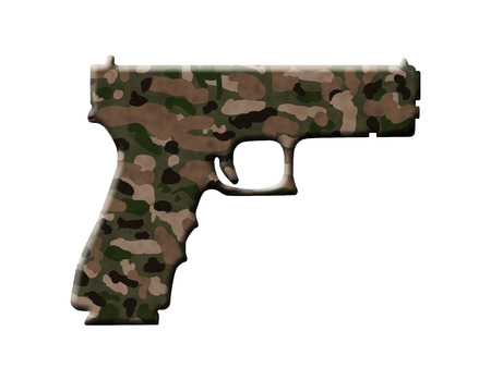 hostility: A Handgun in the camouflage colors isolated over white, Camouflage Handgun Stock Photo