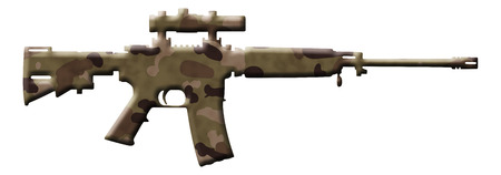 assault rifle: A rifle in the camouflage colors isolated over white, Camouflage Rifle Stock Photo