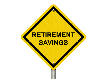 retirement savings: A road warning sign isolated on white with word Retirement Savings, Do you have enough money for retirement