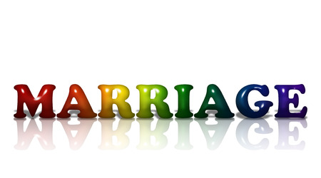 Word Marriage in 3D LGBT flag colors isolated on white with copy-space, LGBT Marriage photo