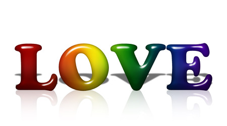Word Love in 3D LGBT flag colors isolated on white with copy-space, LGBT Love photo