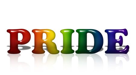 Word Pride in 3D LGBT flag colors isolated on white with copy-space, LGBT Pride