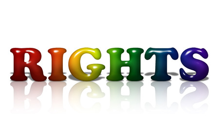 Word Rights in 3D LGBT flag colors isolated on white with copy-space, LGBT Rights photo