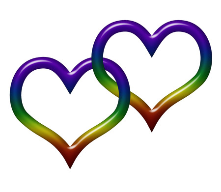 Two heart symbols in LGBT flag colors isolated on white with copy-space, Gay Love