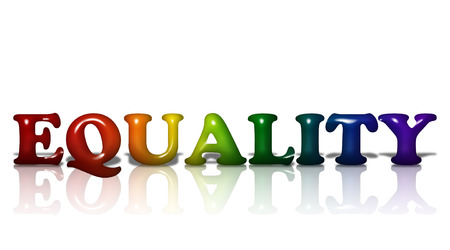 Word Equality in 3D LGBT flag colors isolated on white with copy-space, LGBT Equality photo