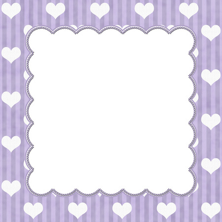 Purple Stripes and White Hearts background for your message or invitation with copy-space in middle
