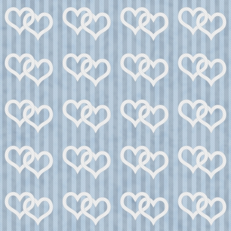 Blue and White Hearts and Stripes Textured Fabric Background that is seamless and repeats photo