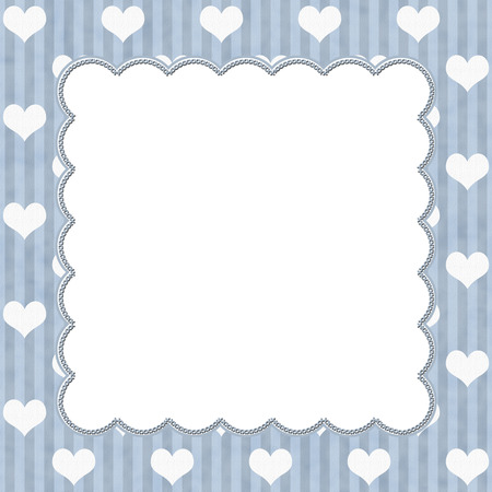 Blue Stripes and White Hearts background for your message or invitation with copy-space in middle photo