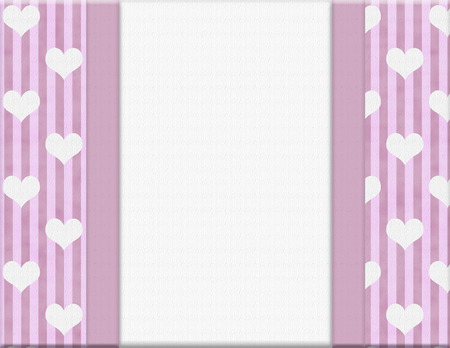 Pink Stripes and hearts with Ribbon and center for copy-space, Pink Celebration Background