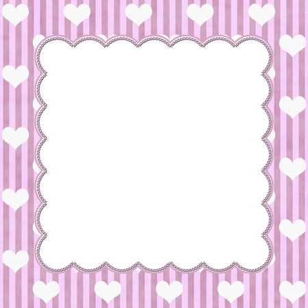 Pink Stripes and White Hearts background for your message or invitation with copy-space in middle photo