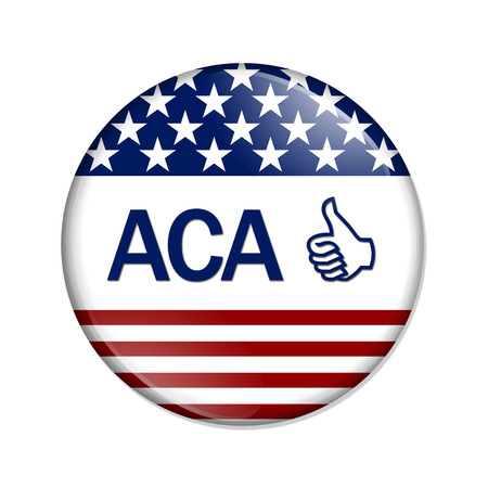 affordable: A white button with word ACA and thumbs up icon isolated on white, Affordable Care Act is great Stock Photo