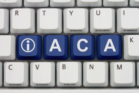 reform: Computer keyboard keys with word ACA and information icon, Affordable Care Act Information Online Stock Photo