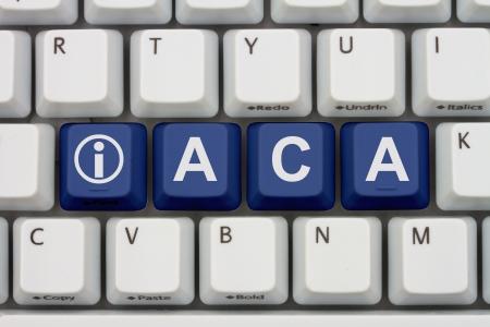 Teclas del teclado de ordenador con palabra ACA y el icono de información, Affordable Care Information Act Online