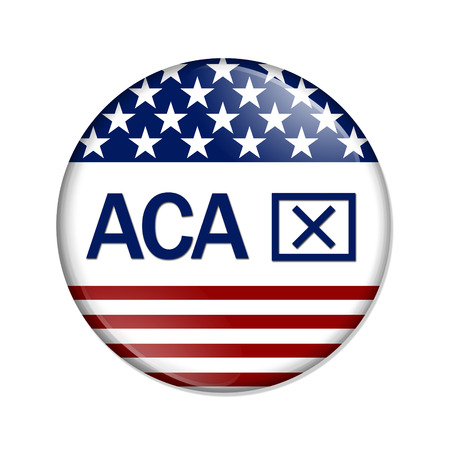 affordable: A white button with word ACA and thumbs up icon isolated on white, Affordable Care Act is not good