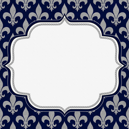 Blue and Gray Fleur De Lis Textured Fabric Background with center copy-space, Classic Background photo