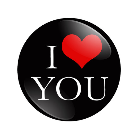I Love You button, A black and red  button with words I love You isolated on a white background Imagens