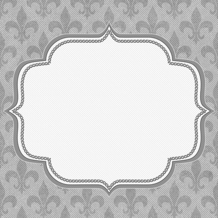 Gray Fleur De Lis Textured Fabric Background with center copy-space, Classic Background photo