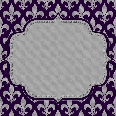 Purple and Gray Fleur De Lis Textured Fabric Background with center copy-space, Classic Background photo