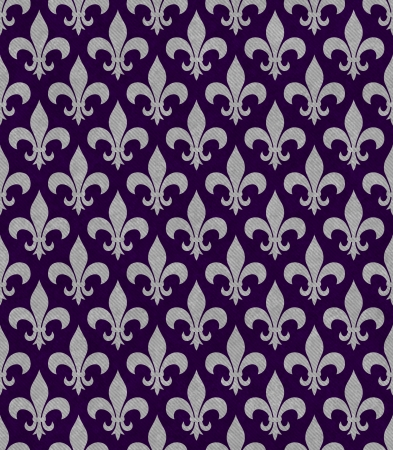 Purple and Gray Fleur De Lis Textured Fabric Background that is seamless and repeats photo