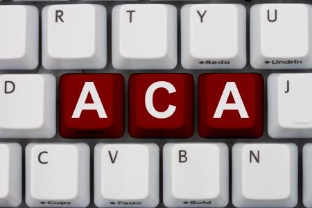 単語 ACA、手ごろな価格のケア法とコンピューターのキーボードのキー
