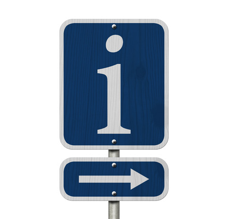 An American blue road sign isolated on white with a lower case i and an arrow, Information Sign photo