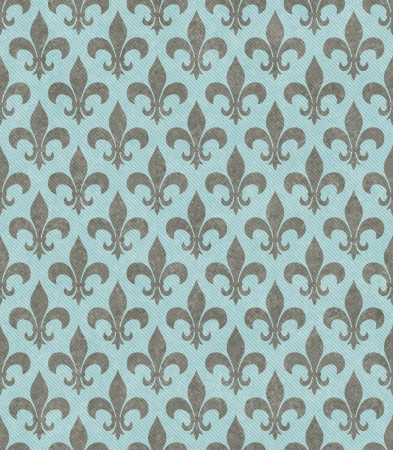 repeatable: Teal and Gray Fleur De Lis Textured Fabric Background that is seamless and repeats Stock Photo