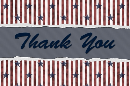 blue you: Stars and Stripes Torn Background with text Thank You, Patriotic Thank You