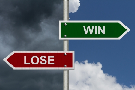 lose: Red and green street signs with blue and stormy sky with words Win and Lose, Win versus Lose