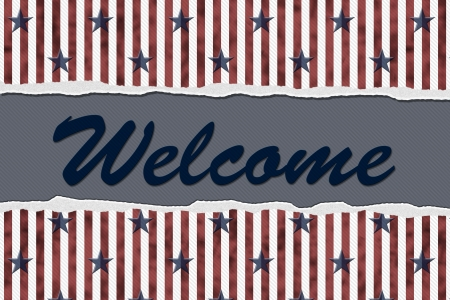 immigrate: Stars and Stripes Torn Background with text Welcome, Welcome to the United States of America