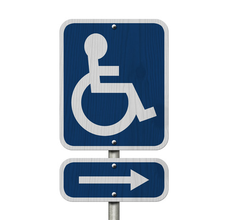 disabled parking sign: An Blue American road sign with wheelchair and arrow isolated over white , Handicap Parking Sign