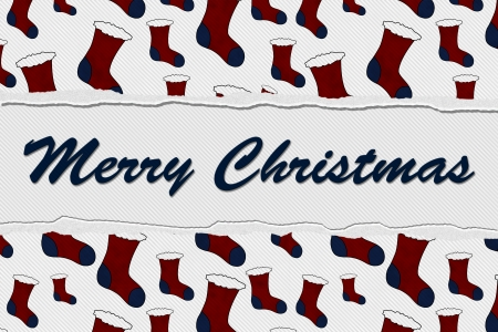 torn stockings: Red and Blue Torn Background with text Merry Christmas, Merry Christmas Message Stock Photo