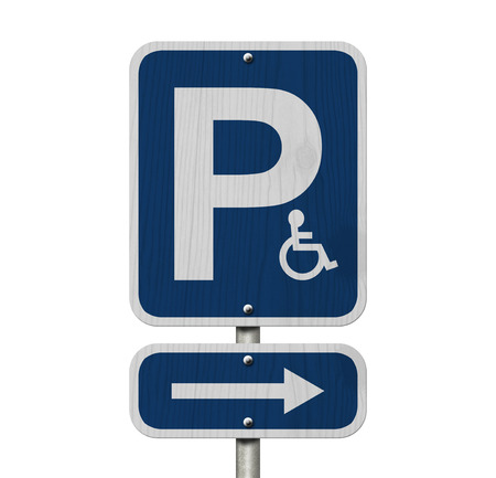 An Blue American road sign with a P, a wheelchair and arrow isolated over white , Handicap Parking Sign photo