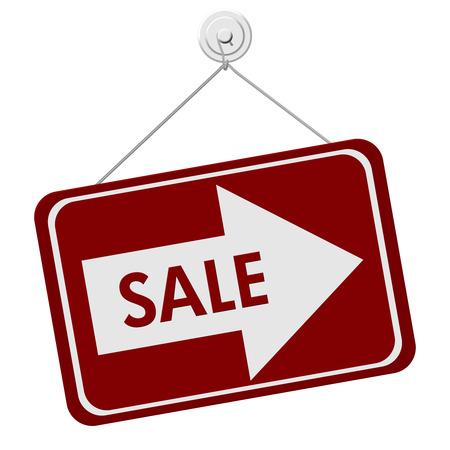 A red and white sign with the word Sale and Arrow isolated on a white background, Sale Sign Stock fotó