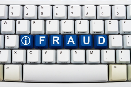 web scam: Computer keyboard keys with word Fraud and information icon, Getting information about Online Fraud Stock Photo