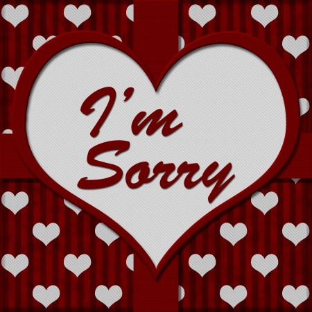 Red and White Hearts Background with heart-shaped center with text Im Sorry, Im Sorry Message