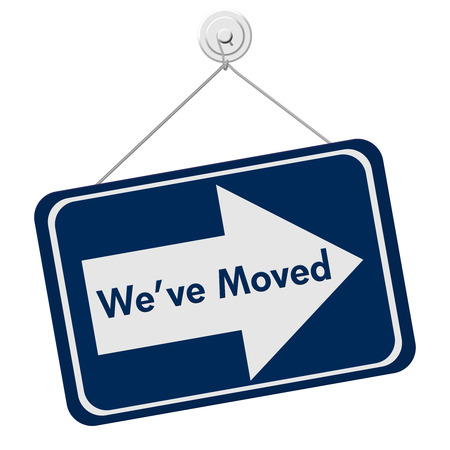 moved: A blue and white sign with the words We Have Moved isolated on a white background, We Have Moved Sign Stock Photo