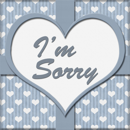 Blue Hearts Background with heart-shaped center with text Im Sorry, Im Sorry Message photo