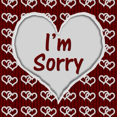 i am sorry: Red and White Connected Hearts Torn Heart with text Im Sorry, Im Sorry Message Stock Photo