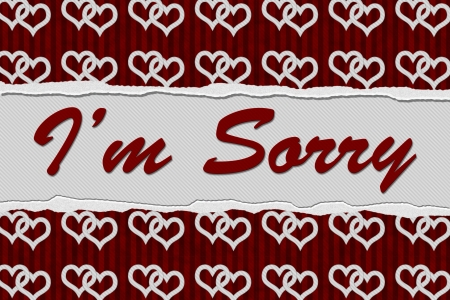 i am sorry: Red Connected Hearts Torn Background with text Im Sorry, Im Sorry Message Stock Photo