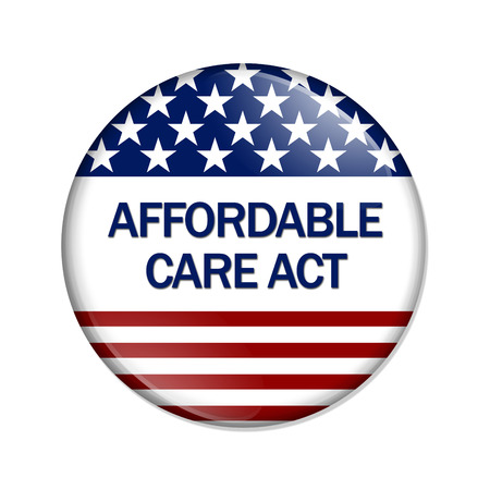 affordable: A white button with words Affordable Care Act isolated on white, Affordable Care Act Button