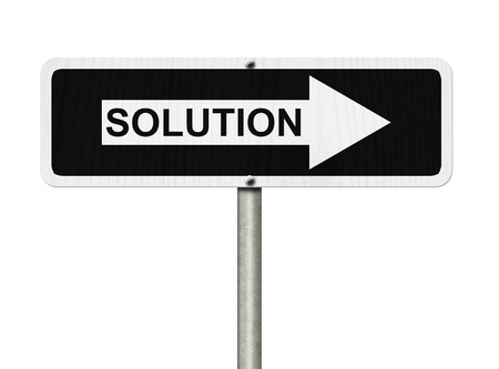 White and Black street sign  isolated over white with word Solution, Solutions this way photo