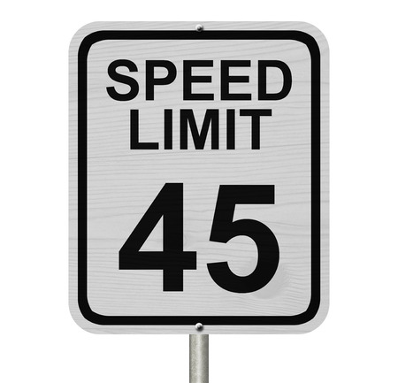 kilometre: A white American road sign with words Speed Limit and 45 isolated over white, Speed Limit 45 Sign